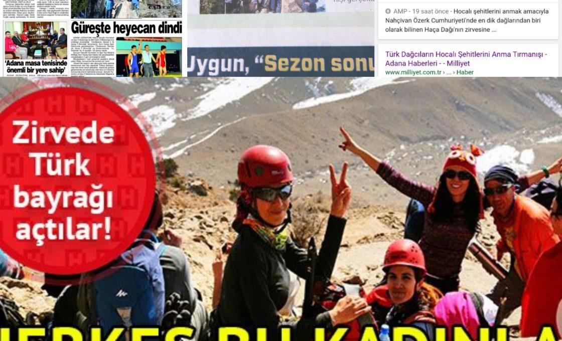 Haça Dağı tırmanışı, çeşitli basında