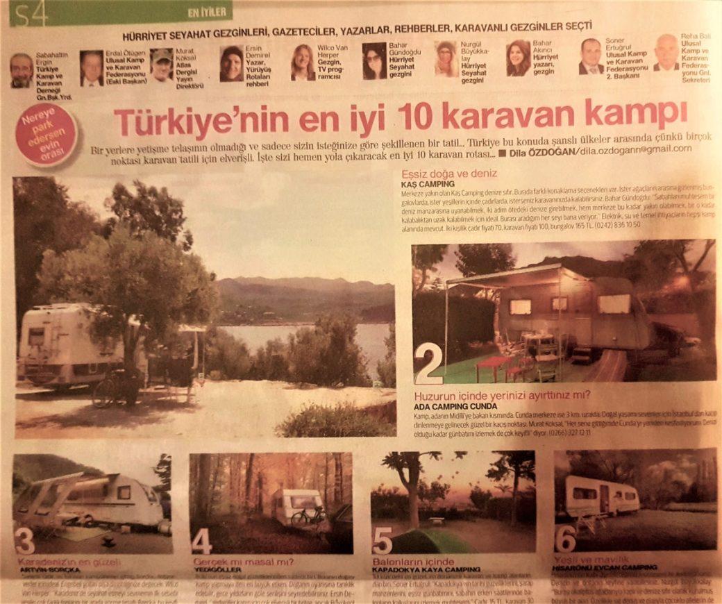 Hürriyet Seyahat Gazetesi Türkiye'nin En İyi 10 Karavan Kampı Jüri Üyesiydim